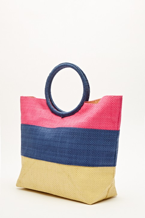 Striped Basket Weave Tote Bag